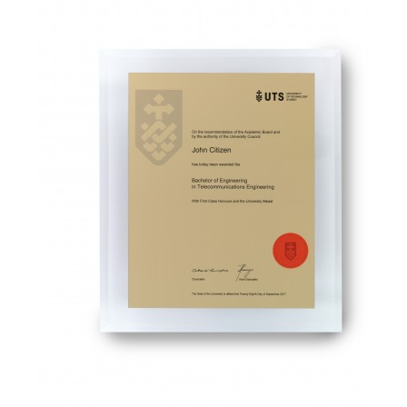UTS Gold on Clear Acrylic Medium Plaque