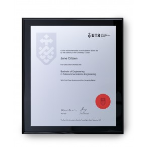 UTS Silver on Black Large Plaque