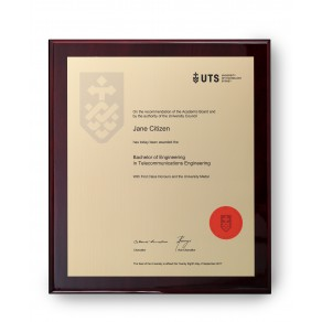 UTS Gold on Rosewood Large Plaque