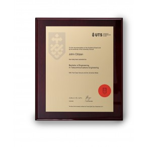 UTS Gold on Rosewood Medium Plaque