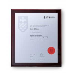 UTS Silver on Rosewood Large Plaque