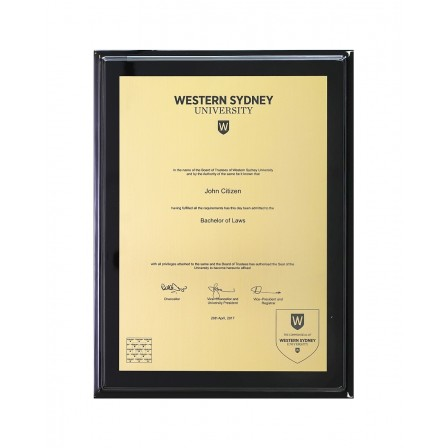 WSU A3 Engraved, Gold Black