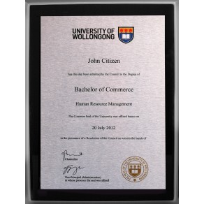 Black Silver UOW plaque